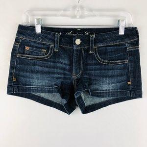 American Eagle Dark Wash Shorts Whiskering 2